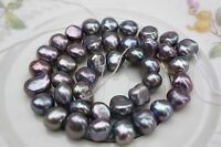 BK03 Zuchtperlen Strang Süßwasser Perlen Schmuck Kette Halskette 9-10 mm barock