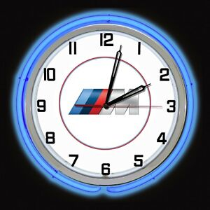 "19"" BMW M Series Sign Blue Neon Clock Chrome Case Bavarian Motor Works Man Cave"