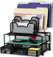 SimpleHouseware Mesh Desk Organizer Sliding Drawer  Double Tray and 5 Black New