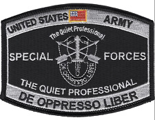 """4.375"""" ARMY MOS DE OPPRESSO LIBER THE QUIET PROFESSIONAL EMBROIDERED PATCH"""
