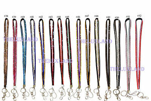 2 Colors Striped Rhinestones Badge Cell Phone and Key Holder Crystal Lanyard ID