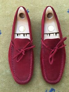 Tods Ferrari Mens Shoes Red Suede Loafers UK 8 US 9 EU 42 Drivers