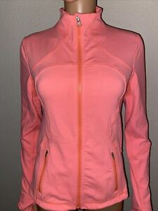 Lululemon Neon Peach Running Jacket 6 Finger Loops Full zip