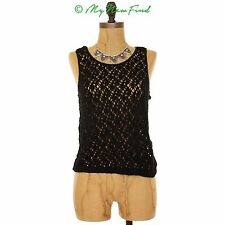 COTTON EMPORIUM CROCHET TANK SWEATER TOP SCOOP NECK VEST BLACK S SMALL MYNF B22