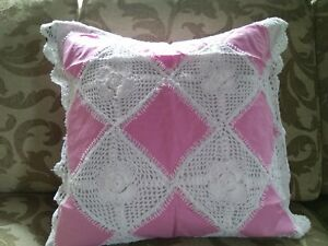 HANDMADE  2  WHITE and PINK  LINEN LACE CUSHION COVER size 18 inch 18 inch