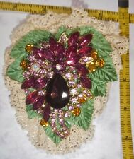 Handcrafted Lace Barrette,Waterfall design, Colorful Crystal Centerpiece, signed