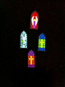 Stained Glass Holiday Novelty Buttons/Plastic Sewing supplies/Xritsmas Buttons
