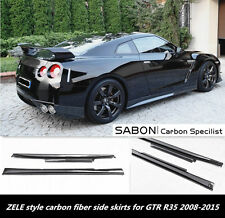 For 08-15 Nissan GTR R35 Side Skirts Extensions //ZELE Style//Carbon Fiber CF