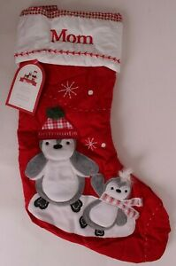 """Pottery Barn Kids classic quilted stocking Christmas, Penguin, says """"Mom"""""""