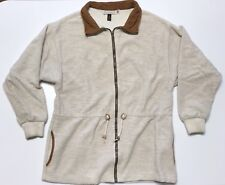 Vintage Norm Thompson Beige Sweater Full Zip Mens Small pockets draw string USA