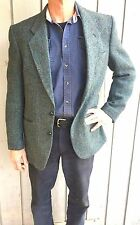 HARRIS TWEED WOOL Jacket Blazer Vintage Sportcoat Gray Blue Green Men's Med Engl