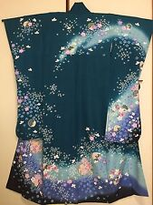 Vintage Japanese Silk Kimono Dress FURISODE, Cherry Blossom, Blue Green K864