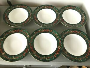 Opulent Royal Worcester Holly Ribbons Green - Rare set 6 rimmed soup bowls 9""