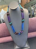 Womens 1970's Lucite blue purple green Graduated beaded 3 strand necklace