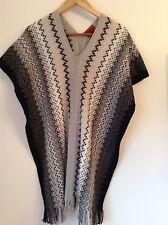 BNWTT 100% Auth By MISSONI, Knit Zig Zag Contrast Black / Grey Colours Poncho.