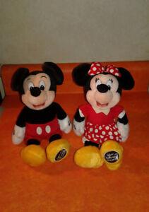 "🎇🏰Disney's Set Of Vintage Mickey & Minnie Mouse📺Plush Stuffed Bean Bags 9""🍄"