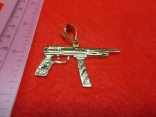 "14 KT GOLD PLATED MACHINE GUN CHARM 2"" BY 2""BLING BLING-4804"