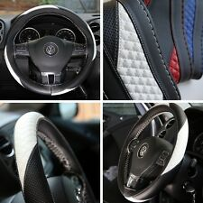 "14"" Steering Wheel Cover Black & White Racing Style PVC Leather Wrap 47011 Coupe"