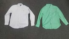 RALPH LAUREN Lot Of 2 Blue Green White Striped Plaid Button Shirt Sz L B4283