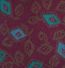 PAUL STUART Handmade Deep Burgundy with Diamond Flower Leaf Pattern Silk Tie