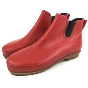 Rubber Ankle Boots Women's Size 10 Red Steel Shank Rubber Shaft & Sole Pre-owned