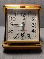 Seth Thomas travel alarm clock brown Vintage