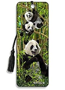 3D BOOKMARK - PANDAS - WITH TASSEL - BAMBOO JUNGLE - BACK TO SHOOL