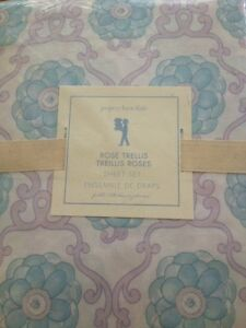 4pc POTTERY BARN KIDS ROSE TRELLIS SCROLL FULL SHEET SET NWT LAVENDER /AQUA