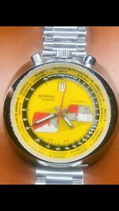 "1970's Sorna""Bullhead World Timer Chrono"" 17 j ""all manufactured in Switzerland"""