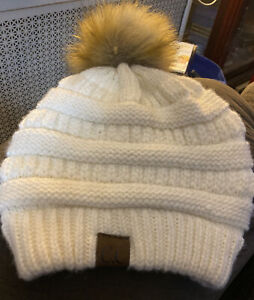 CC Exclusives Beanie Ivory Knit Faux Fur Pom Nice!