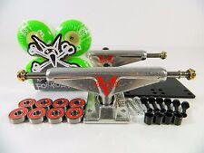 Venture 5.0 Lo Raw Skateboard Trucks + Bones 100s 53mm V4 Original White Wheels
