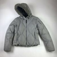 Salomon Womens Parka Jacket Gray Zip Pockets Down Feather Filled Trim S Stained