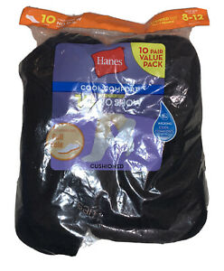 Hanes Women's Extended Size 10pk Low Cut Socks, Black, Size 8-12