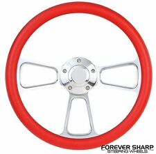 "14"" Marine Boat Red Aluminum Steering Wheel w/ 3/4"" Tapered Key Way Adapter"
