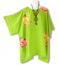 Green Batik Hibiscus Plus Size Kimono Kaftan Maternity Poncho - 2X, 3X, 4X & 5X