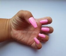 24 Hand Painted Gel False Nails - Barbie Pink - Coffin, Stiletto, Square, Oval