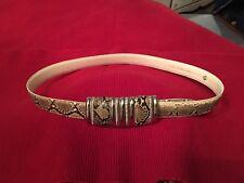 Leather Shop Genuine Snake Skin Belt Silver Ornate Buckle Size M Women Beautiful