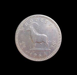 RHODESIA 2 1/2 SHILLINGS 25 CENTS 1964 ELIZABETH II KM 4 #5901#