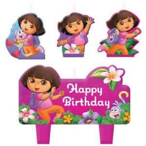 DORA THE EXPLORER CANDLES 4 PIECE SET BIRTHDAY PARTY CAKE SUPPLIES LOLLY LOOT
