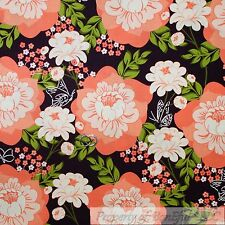 BonEful Fabric Cotton Quilt VTG Brown Orange Peach Flower White Butterfly SCRAP