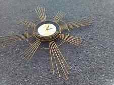 Vintage Atomic Star/Sunburst Brass Clock Mid Century The Modern Historic