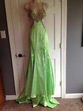 Terani Couture Green Beaded Sequin Cutout Prom Formal Pageant Dress Size 0