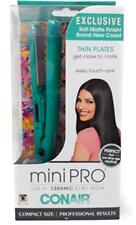 "Conair MiniPro 1/2"" Ceramic Flat Iron Travel Dual Voltage Thin Plates Teal NEW"