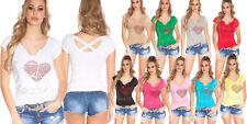 T-shirt maglietta donna love cuore strass manica corta bottoni gioiello nuova