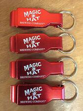 Magic Hat Bottle Opener Key Ring Red Aluminum - 4 Pk -  Brand New - Free Ship