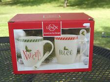 New In Box Set of 2 Lenox Christmas Naughty & Nice Coffee Tea Cocoa Mugs Cups