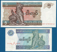 Myanmar (Birmania) 1 + 5 KYATS (1996/7) UNC p.69, 70b