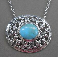 Southwestern Sterling Silver & Turquoise Openwork Necklace & Pendant From QVC