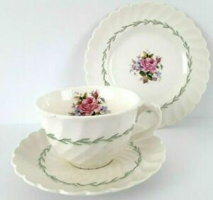 ROYAL STAFFORDSHIRE Clarice Cliff Coffee Tea Trio Janice England Vintage Floral