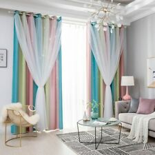 New Blackout Star Curtains Stars Bedroom Living Room Double Layer Window Curtain